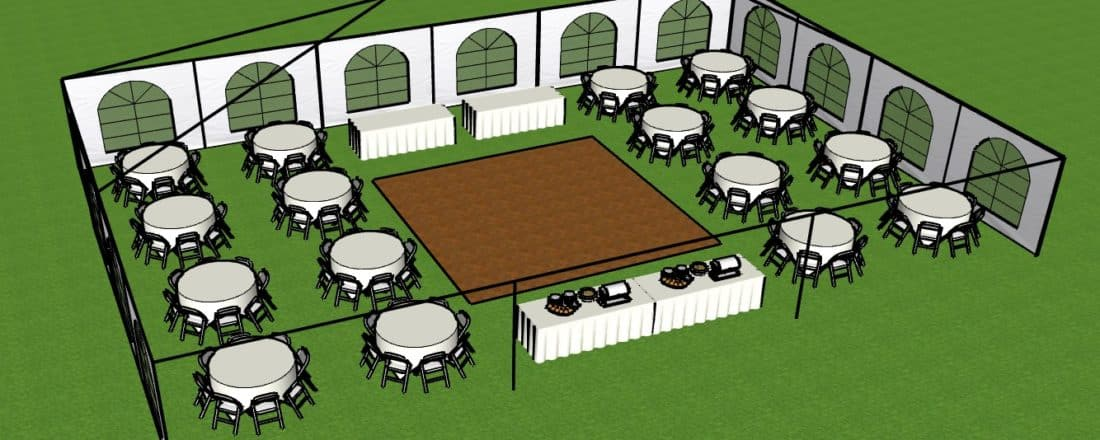 40 x 60 Layout w round tables