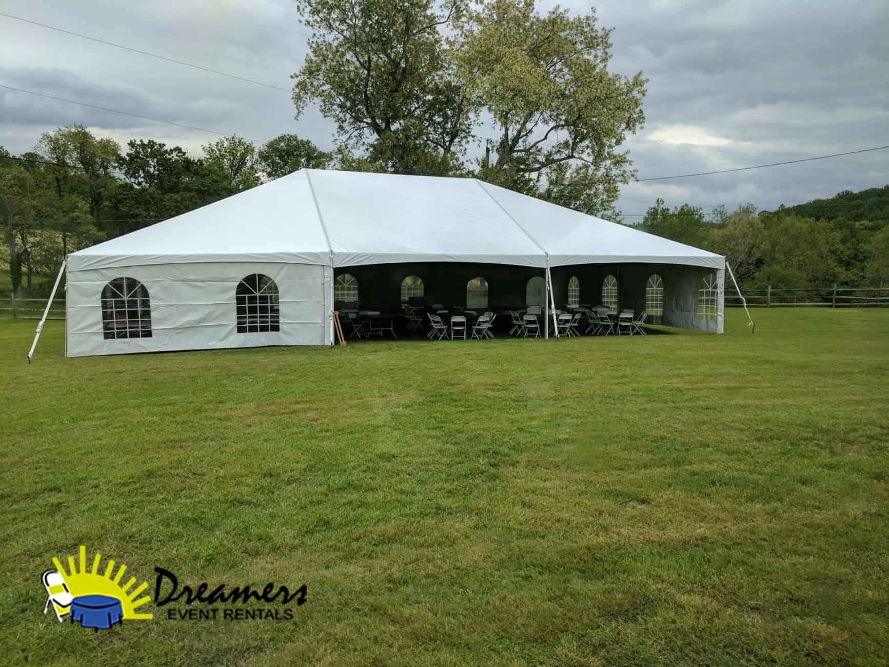 40 x 60 Frame Tent Installed On Grass