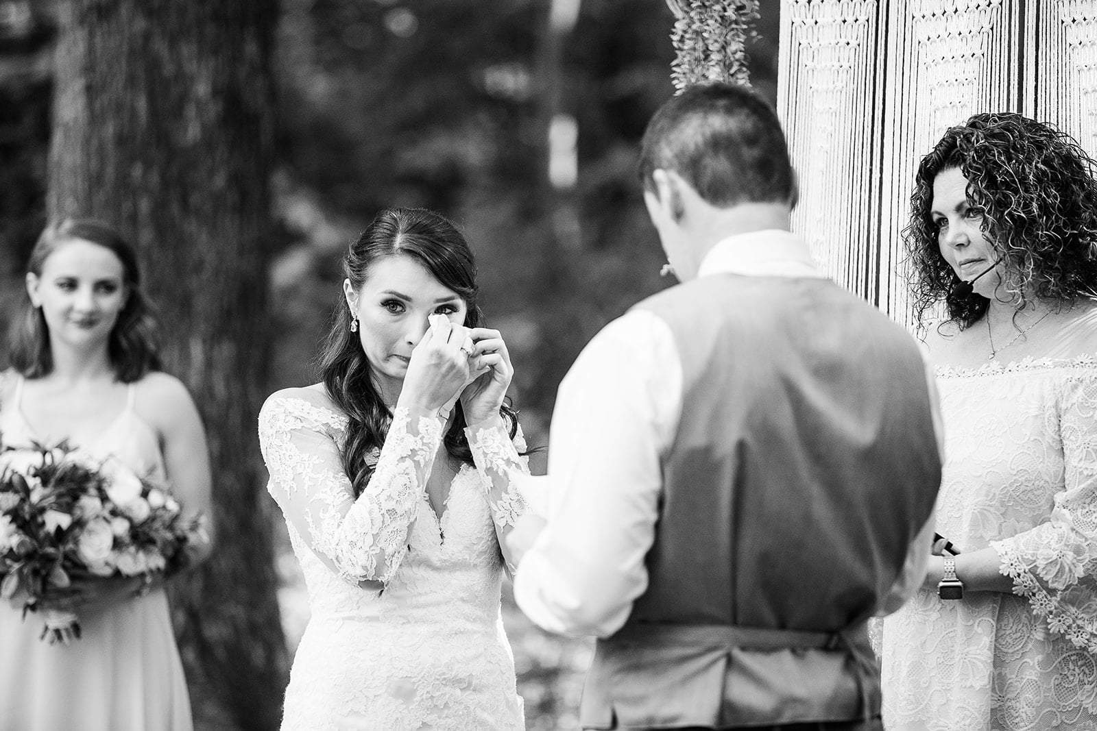 Beautiful Bride Crying During Ceremony