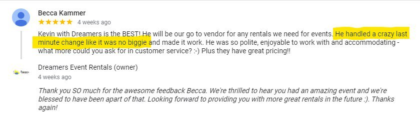 Becca Kammer Google Review for Dreamers Event Rentals