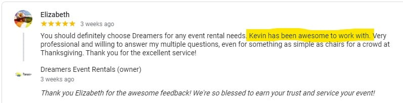 Positive Google Review from Elizabeth for Dreamers Event Rentals