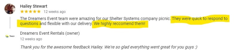 Hailey Stewart Google Review of Dreamers Event Rentals
