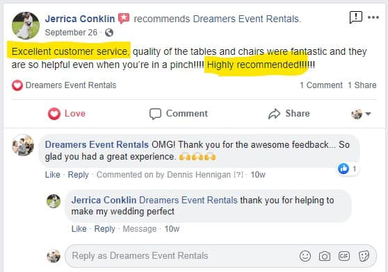 Jerrica Conklin Facebook Review for Dreamers Event Rentals