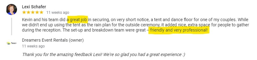 Lexi Shafer Google Review for Dreamers Event Rentals