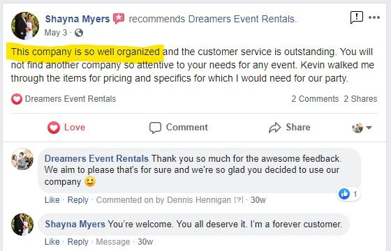 Shayna Myers Facebook Review of Dreamers Event Rentals