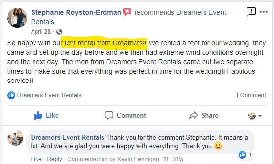 Facebook Review for Dreamers Event Rentals