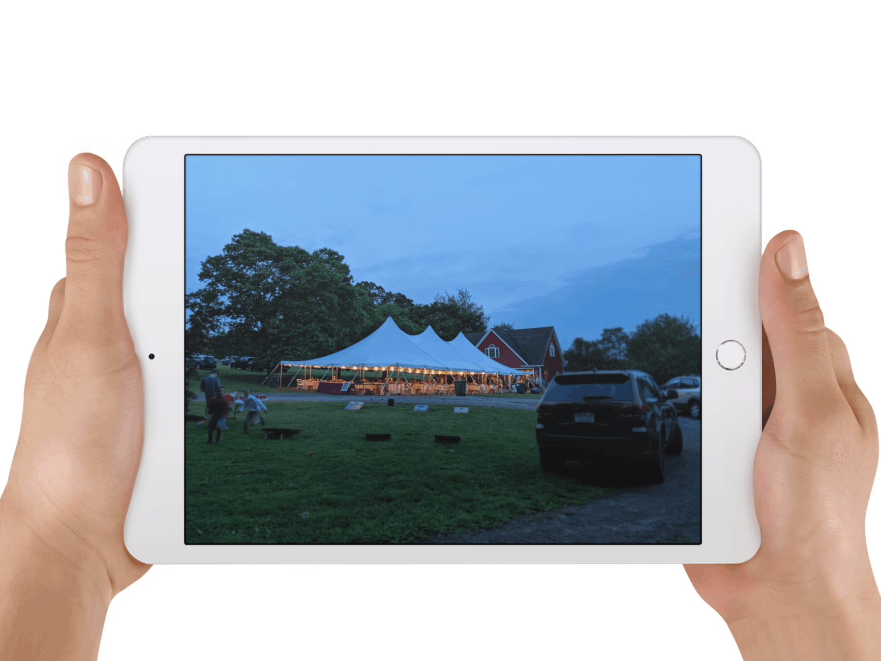 Tablet View of an Outdoor Tent Wedding